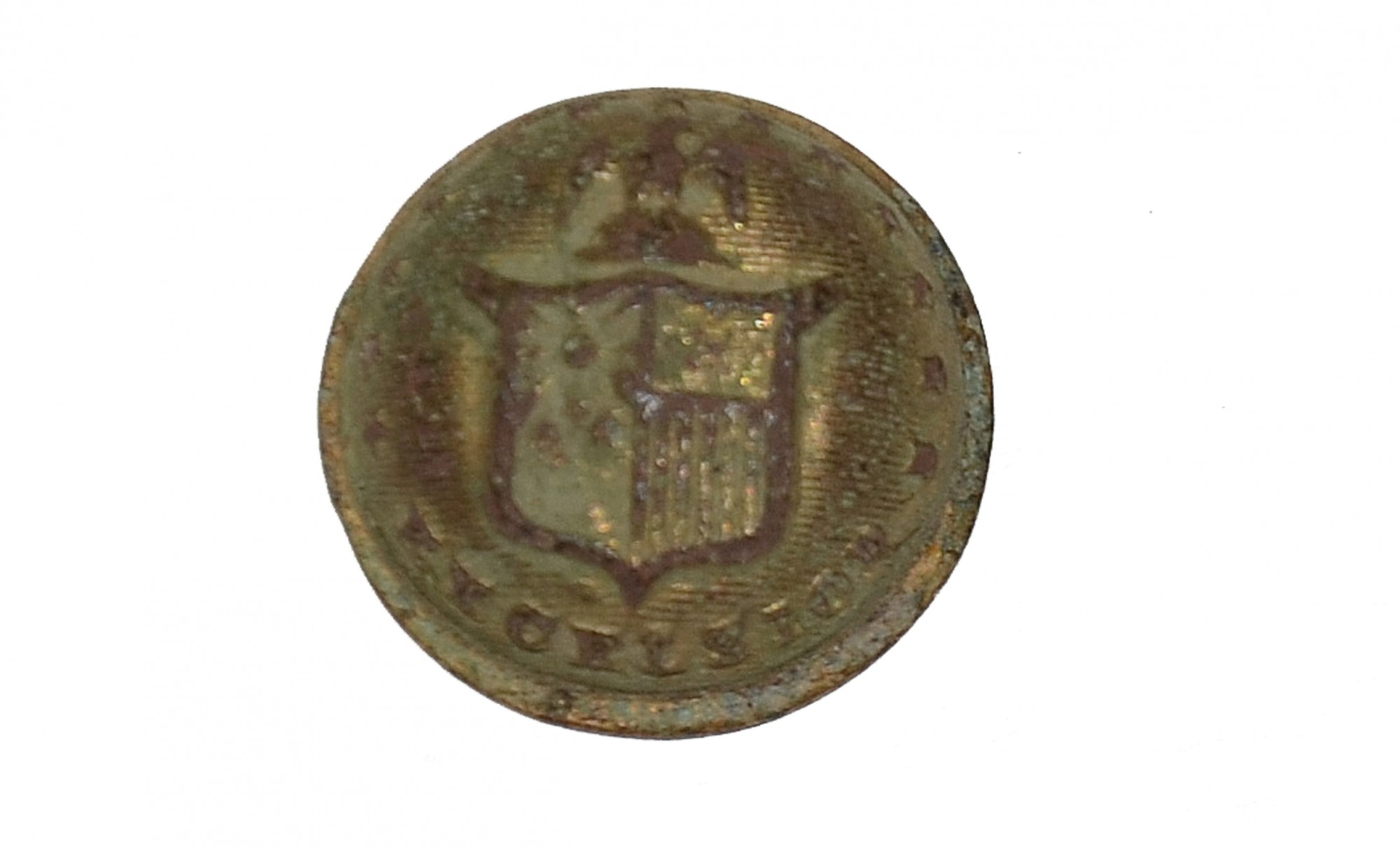 FACE ONLY OF A NEW YORK STATE CUFF BUTTON RECOVERED ON THE KLINGEL FARM, GETTYSBURG