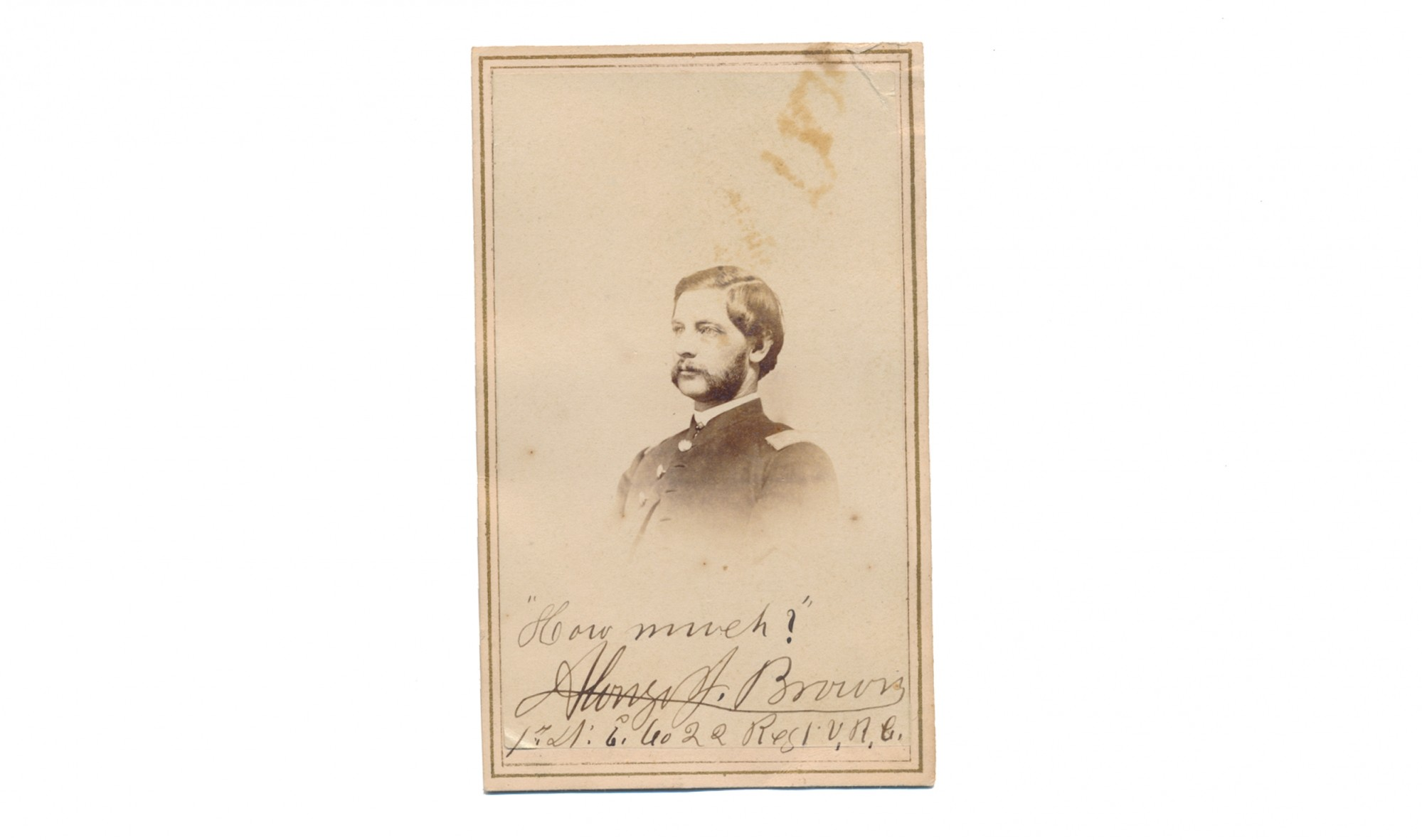 CDV OF ALONZO J. BROWN, 1ST KANSAS INFANTRY