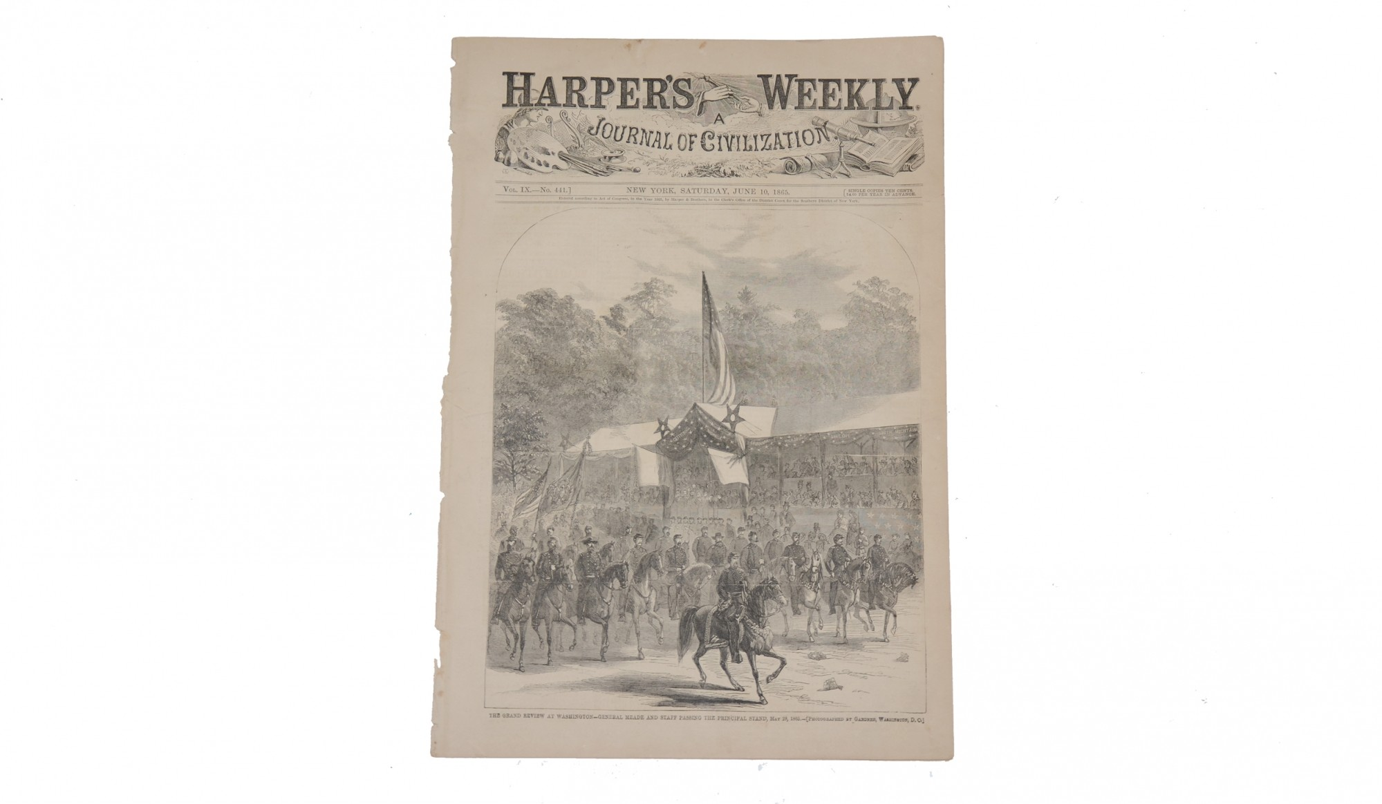HARPER'S WEEKLY DATED JUNE 10, 1865 – GRAND REVIEW