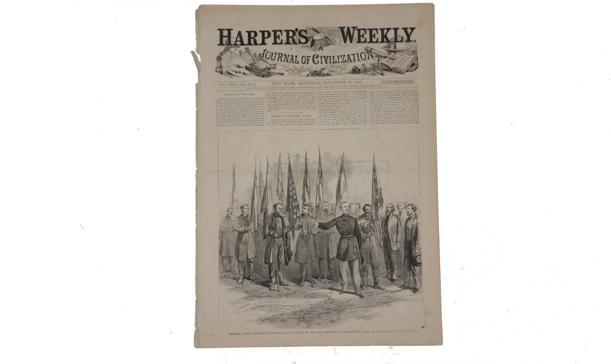 HARPER'S WEEKLY DATED NOVEMBER 12, 1864 – GEN. GEORGE CUSTER