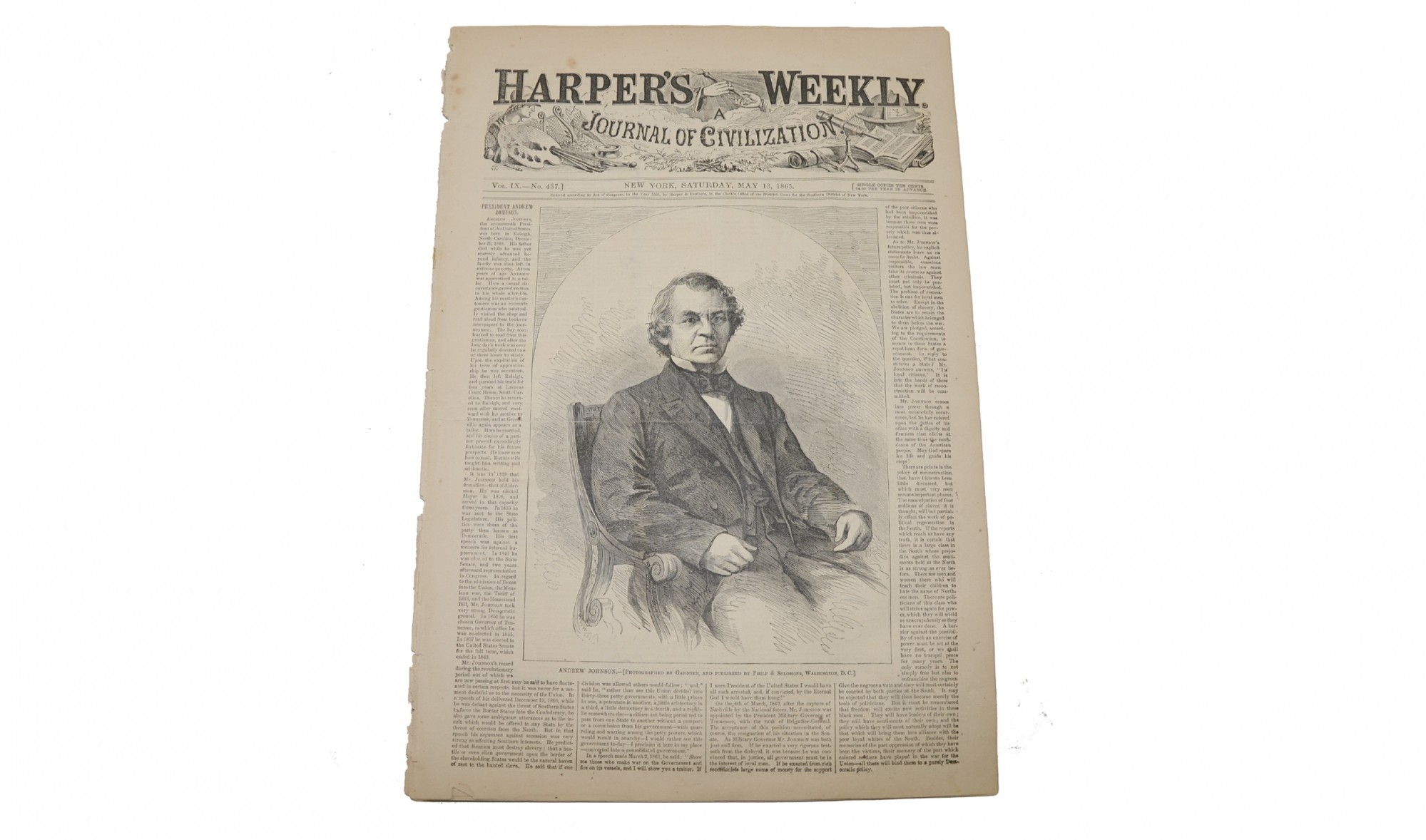 HARPER'S WEEKLY DATED MAY 15, 1865 – JOHN WILKES BOOTH