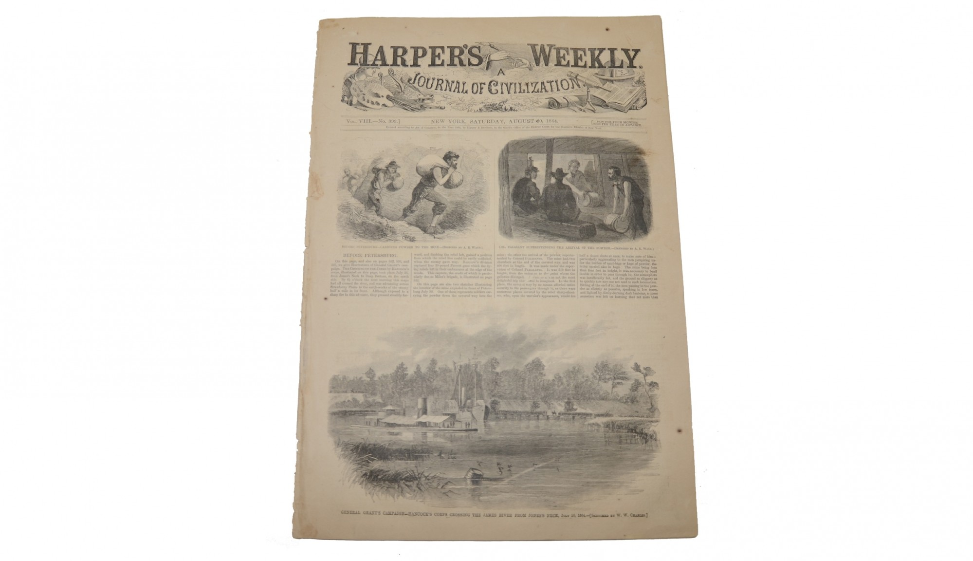 "HARPER'S WEEKLY, DATED AUGUST 20, 1864 – ""THE CRATER"" AT PETERSBURG"