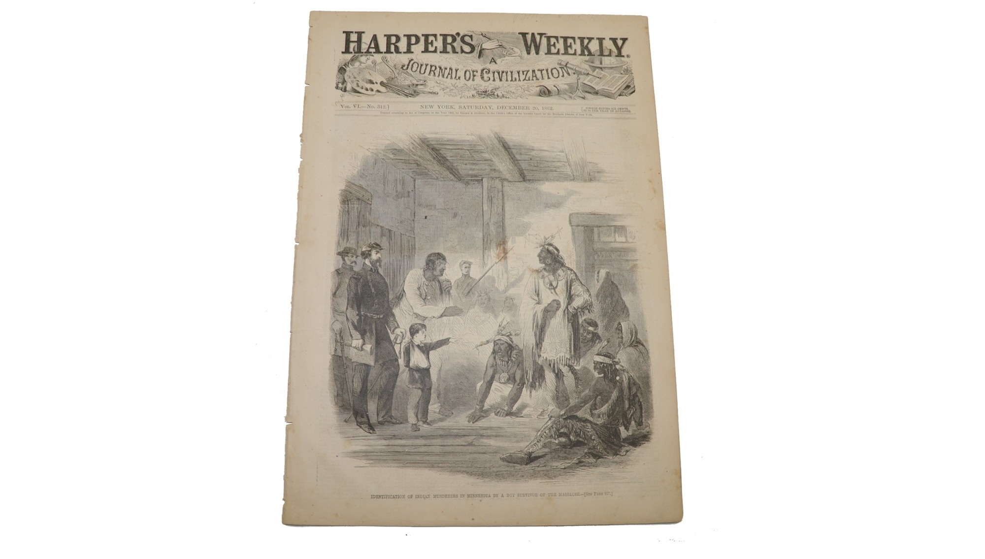 HARPER'S WEEKLY DATED DECMEBER 20, 1862 – 1862 INDIAN UPRISING