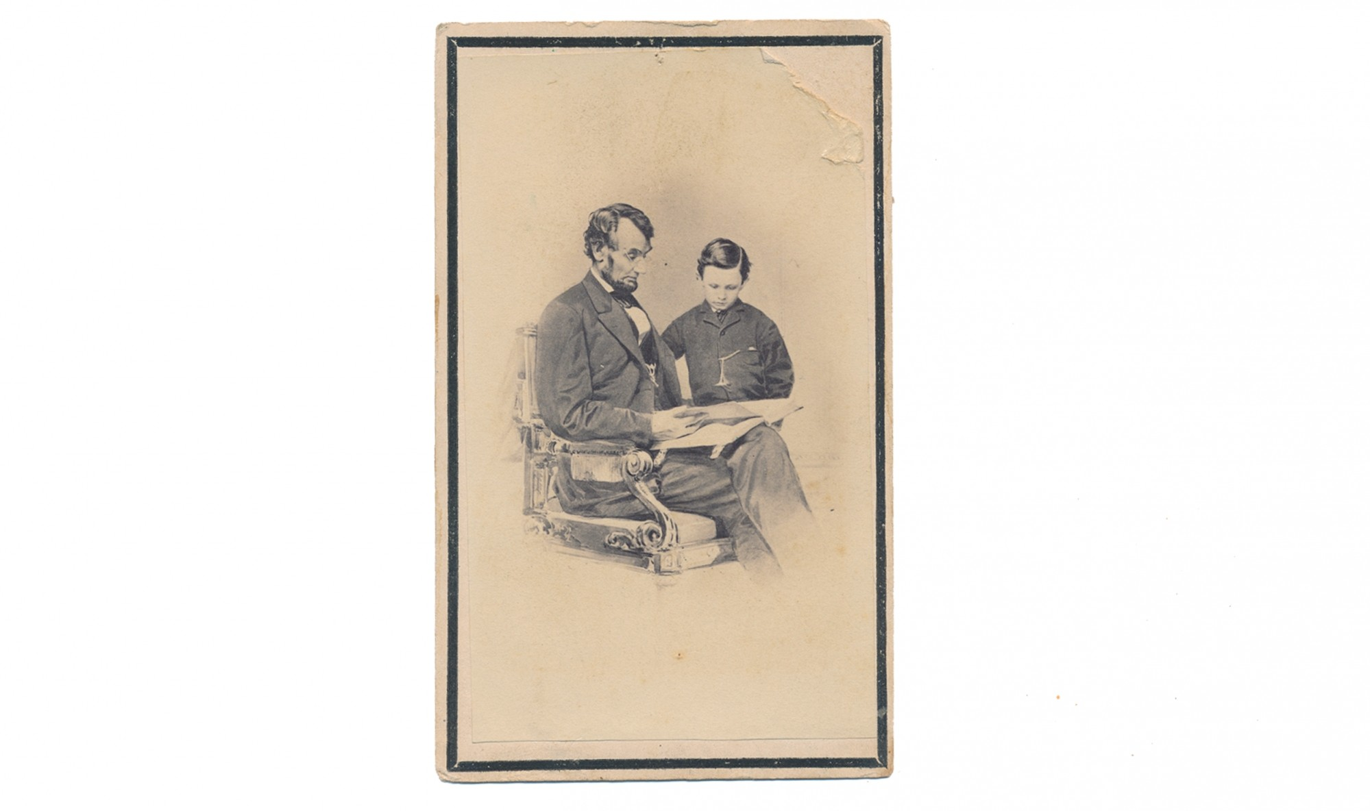 CDV OF ABRAHAM LINCOLN AND SON TAD