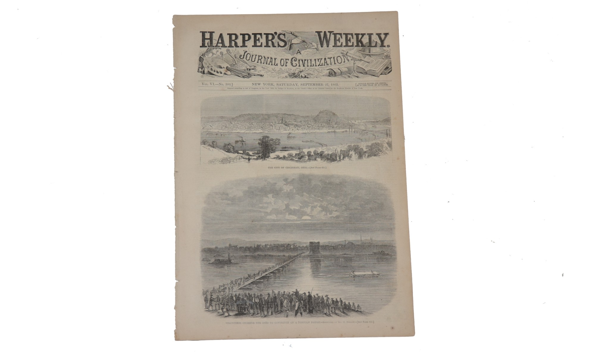 "HARPER'S WEEKLY, DATED ""NEW YORK, SEPTEMBER 27, 1862""- 1862 MARYLAND INVASION"