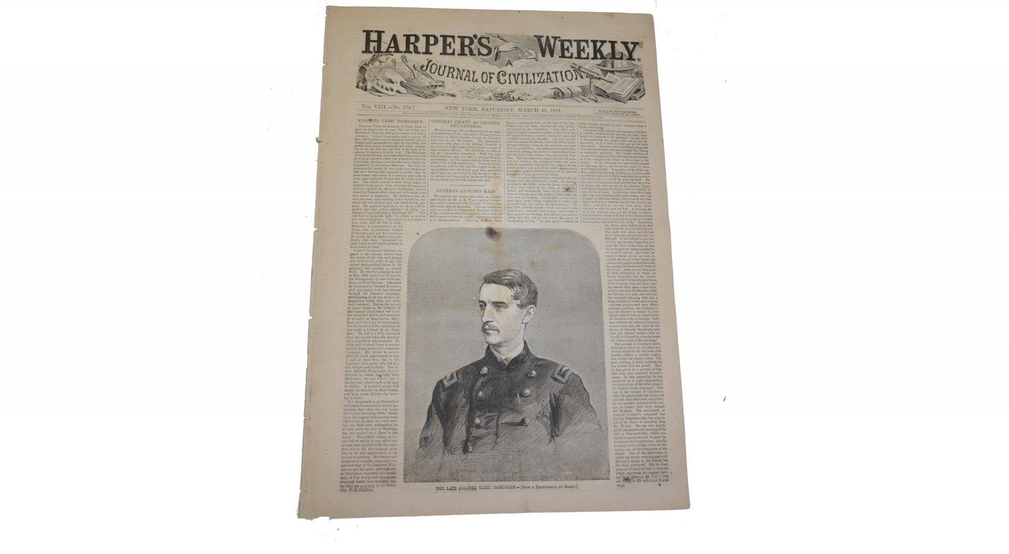 HARPER'S WEEKLY, DATED MARCH 26, 1864 – DAHLGREN RAID/CUSTER'S RAID