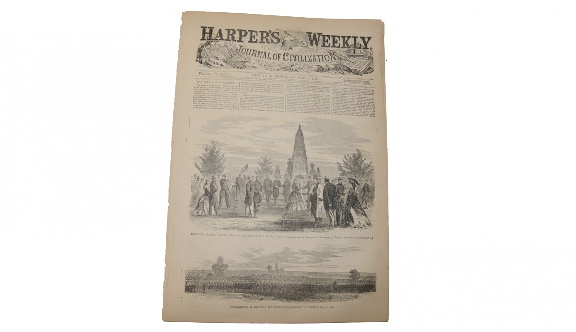 HARPER'S WEEKLY DATED JULY 1, 1865 – LINCOLN CONSPIRATORS TRIAL