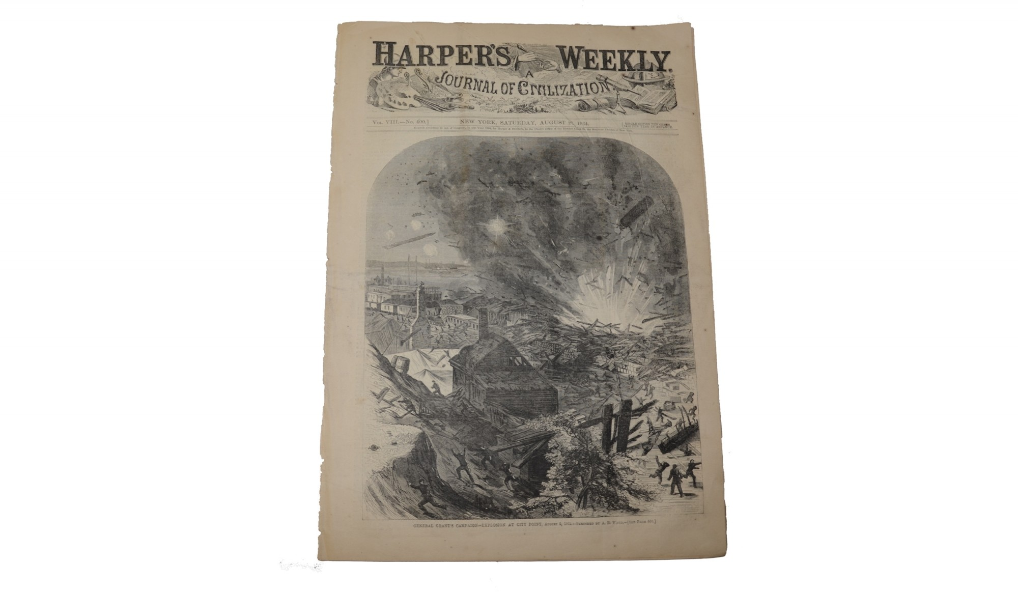 HARPER'S WEEKLY DATED AUGUST 2, 1864 – GENERAL GRANT / CITY POINT