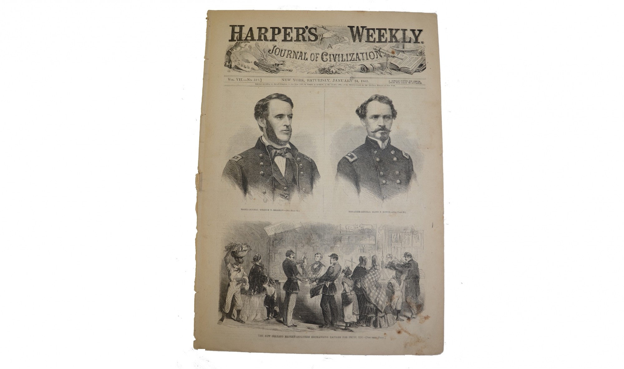 HARPER'S WEEKLY, DATED JANUARY 24, 1863 – GEN. SHERMAN / EMANCIPATION