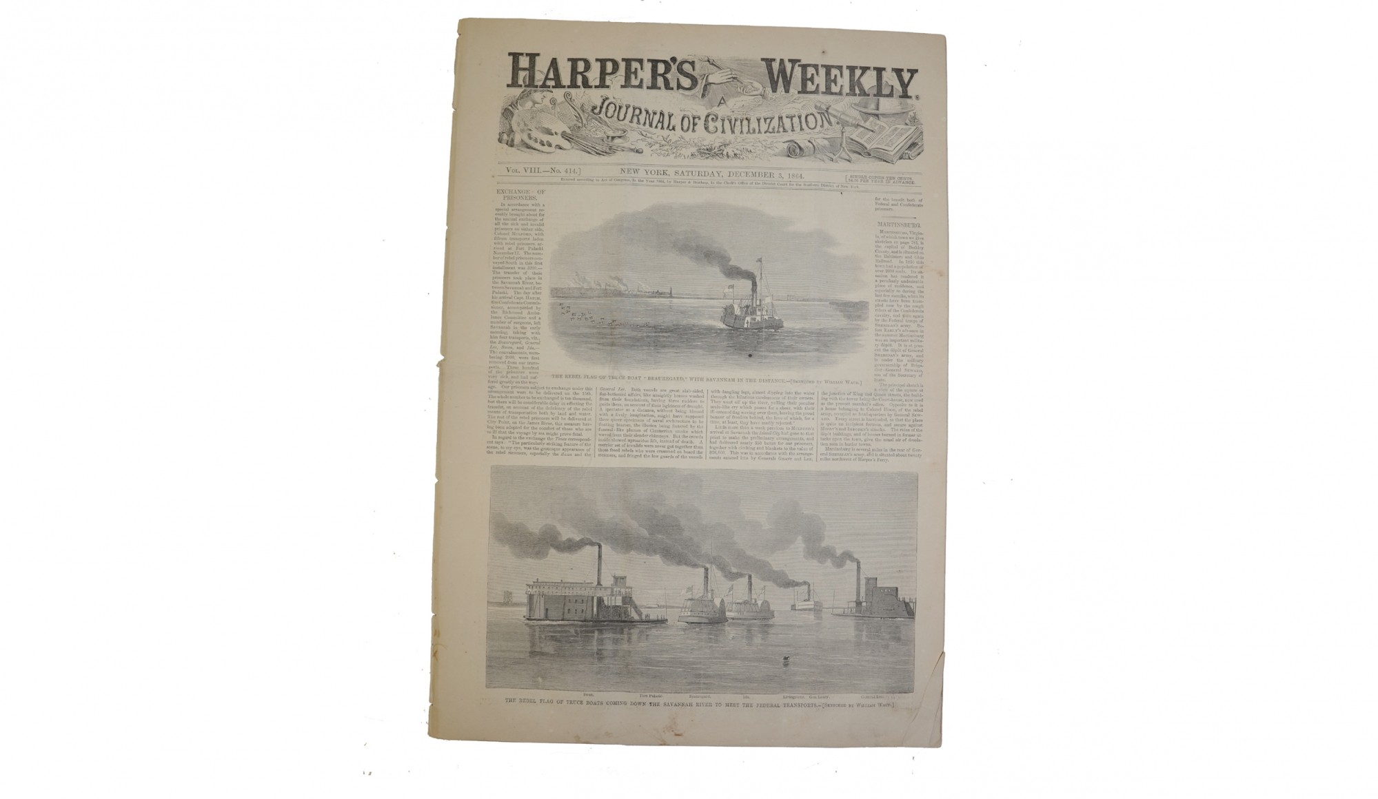 HARPER'S WEEKLY, DATED DECEMBER 4, 1864 – PRISONER EXCHANGE / THANKSGIVING