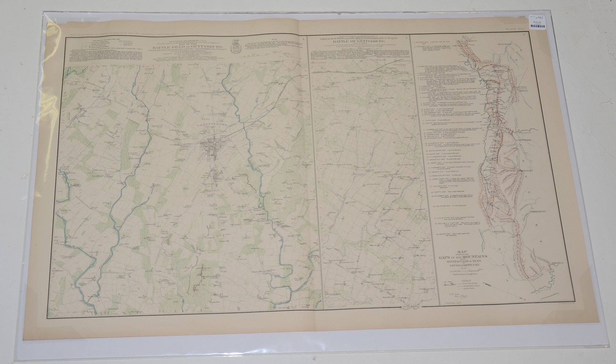MAP OF GETTYSBURG JULY 3 OPERATIONS FROM ATLAS OF CIVIL WAR
