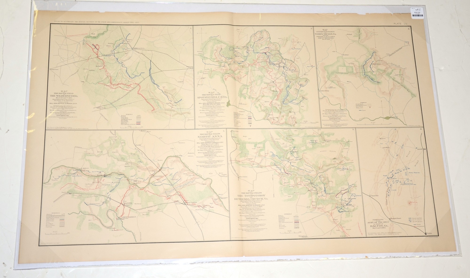 MAPS OF WILDERNESS, VA., SPOTSYLVANIA, TODD'S TAVERN, NORTH ANNA, AND TOTOPOTOMOY AND BETHESDA CHURCH FROM ATLAS OF OFFICIAL RECORDS