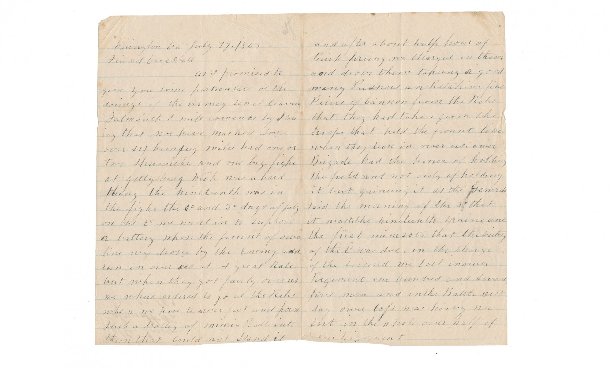 SOLDIER LETTER WITH GETTYSBURG NARRATIVE, WRITTEN BY WALTER JORDON, 19TH MAINE INFANTRY