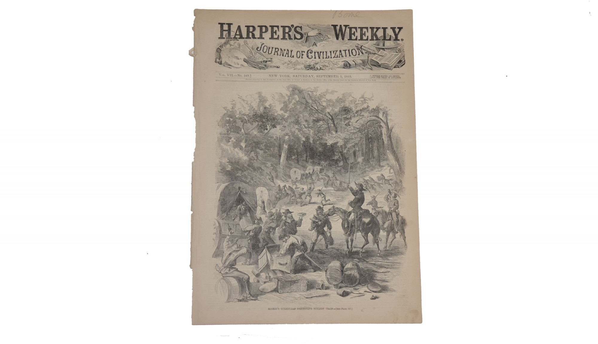 HARPER'S WEEKLY,  SEPTEMBER 5, 1863 – MOSBY'S GUERRILLAS