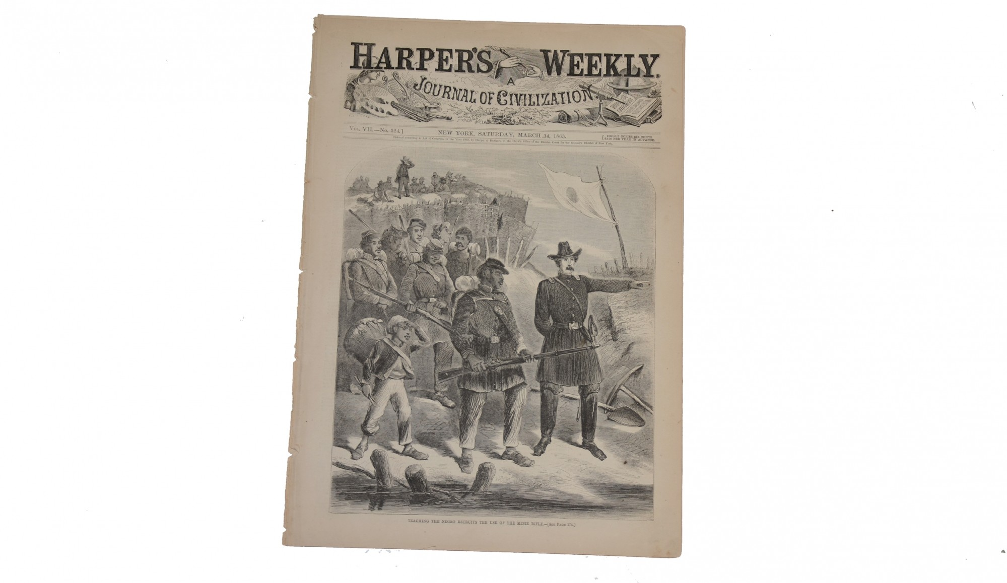 "HARPER'S WEEKLY, MARCH 14, 1863 - ""NEGROES AS SOLDIERS"""