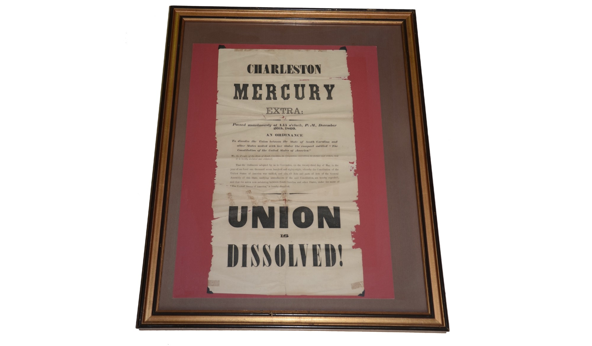 "CHARLESTON MERCURY BROADSIDE — ""UNION IS DISSOLVED"""
