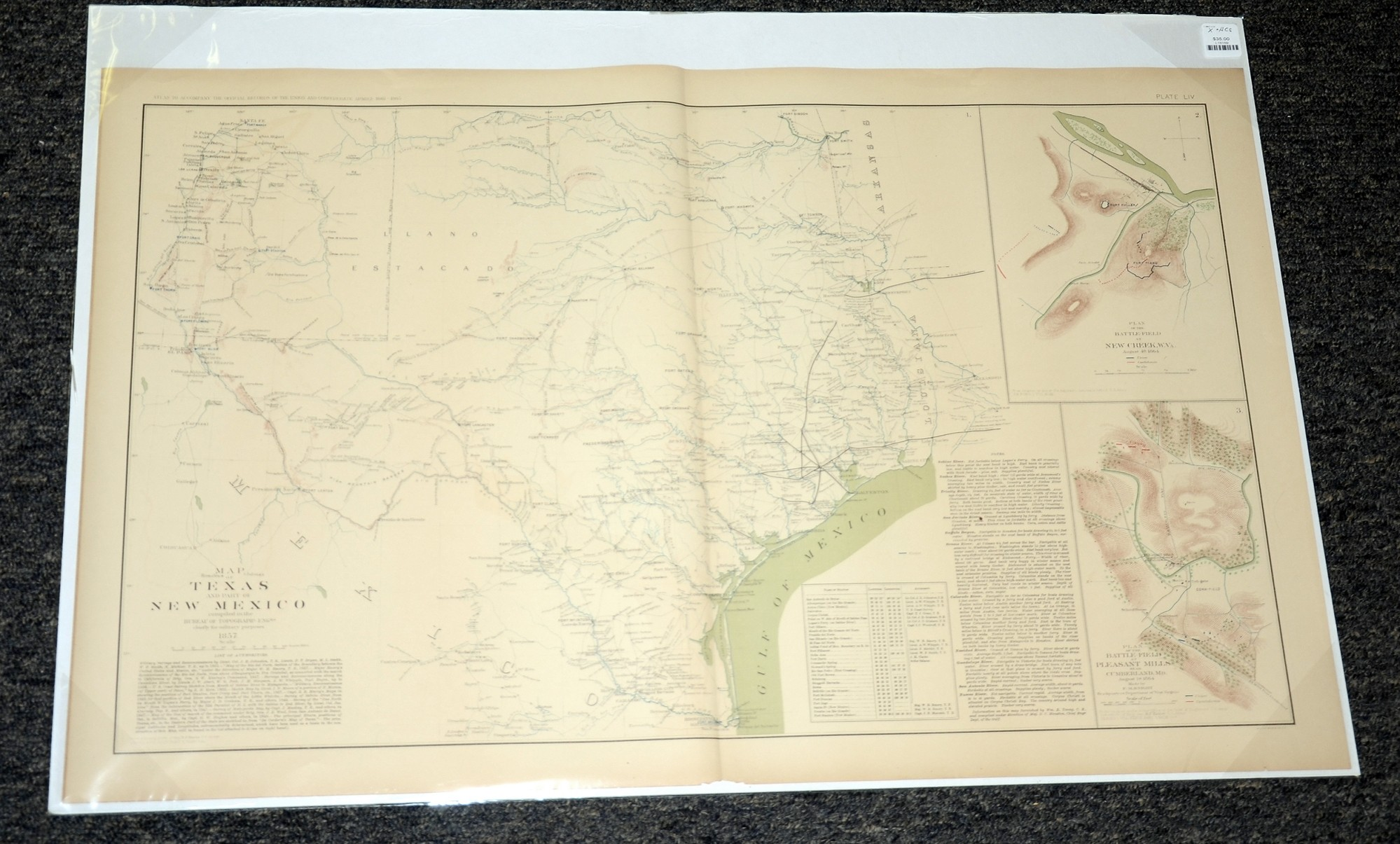 MAPS OF TEXAS AND NEW MEXICO AND THE BATTLEFIELDS AT NEW CREEK WEST VIRGINIA & PLEASANT MILLS, IN CUMBERLAND, MD OF THE ATLANTA CAMPAIGN