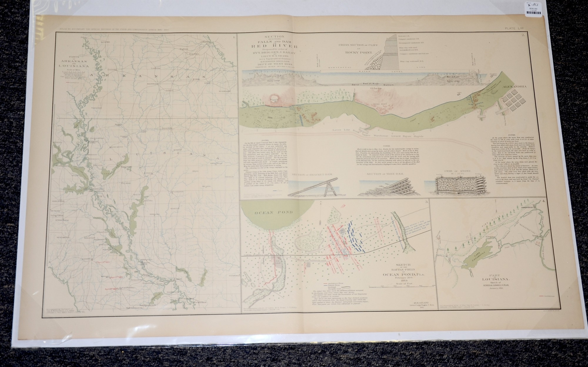 MAP OF RED RIVER, ARKANSAS AND LOUISANA, AND OCEAN POND FLORIDA
