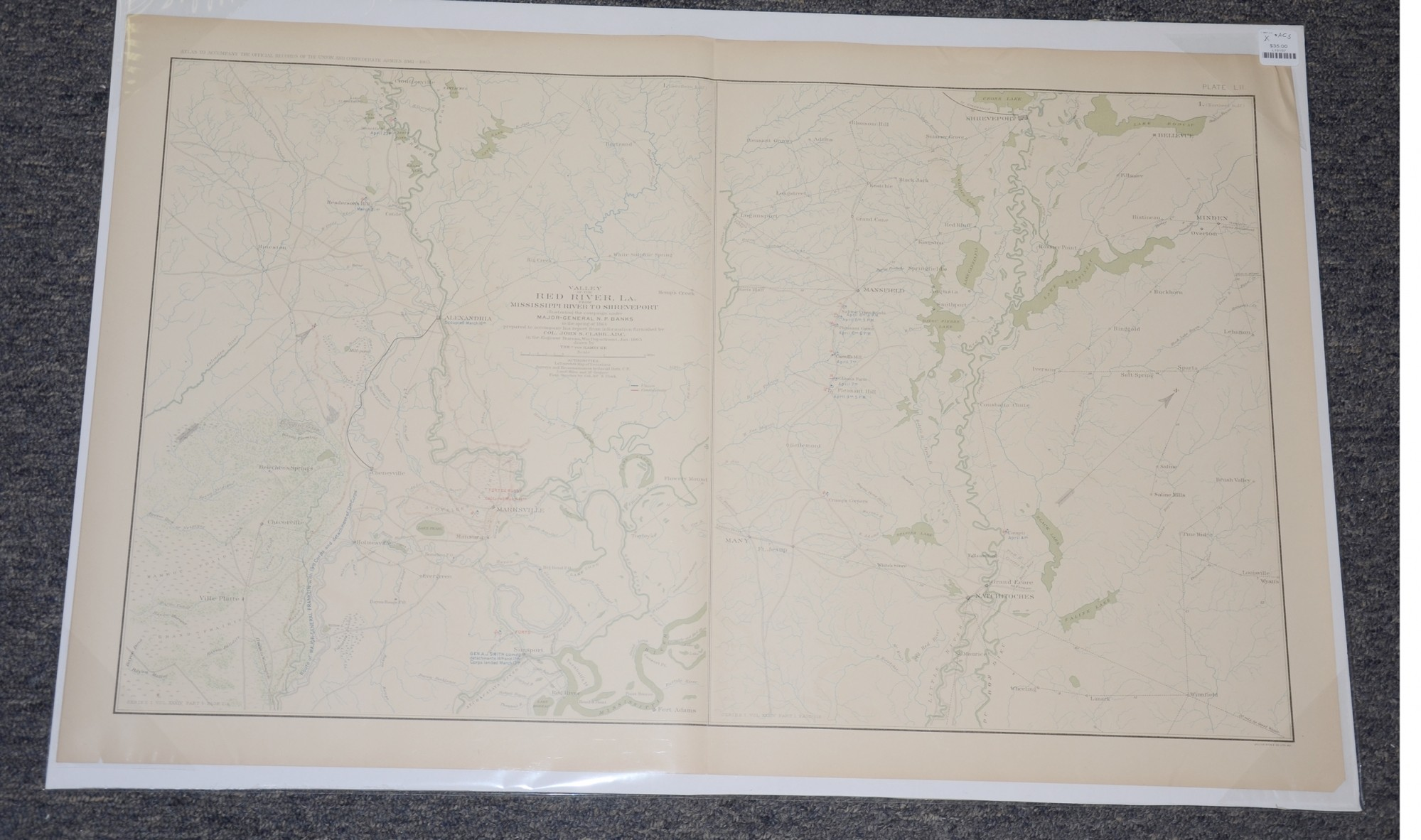 MAP OF VALLEY OF THE RED RIVER LOUISIANA FROM MISSISSIPPI RIVER TO SHREVEPORT