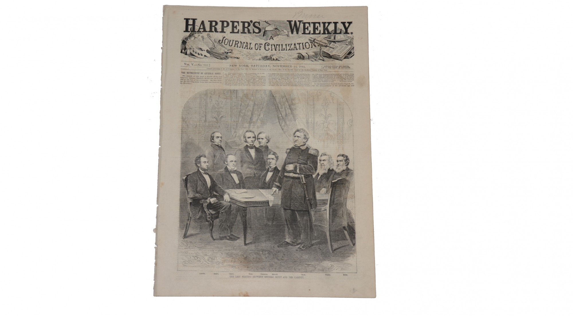 HARPER'S WEEKLY, NEW YORK, NOVEMBER 6, 1861 – GEN. SCOTT RETIRES