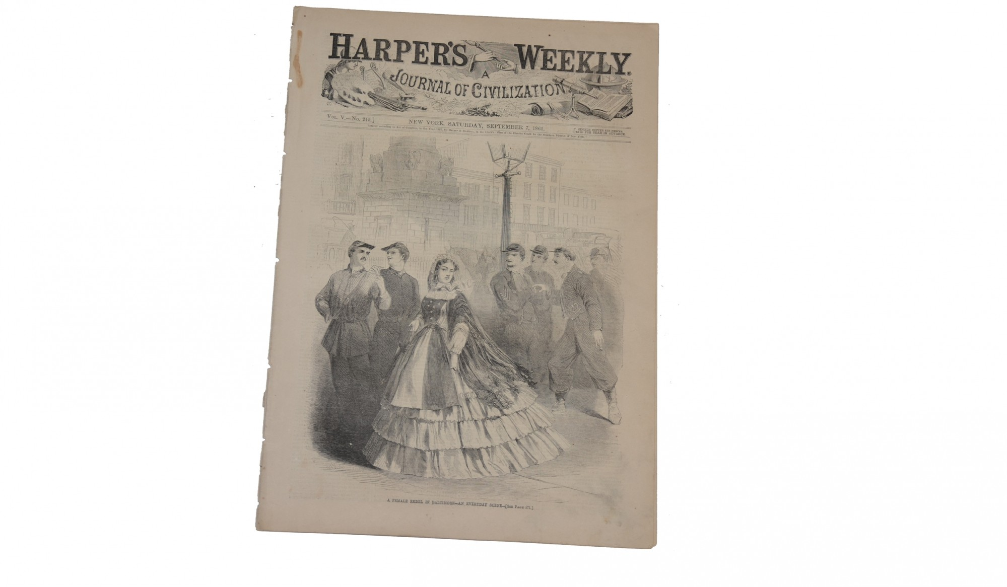 HARPER'S WEEKLY, NEW YORK, SEPTEMBER 7, 1861 – REBEL FEMALE IN BALTIMORE