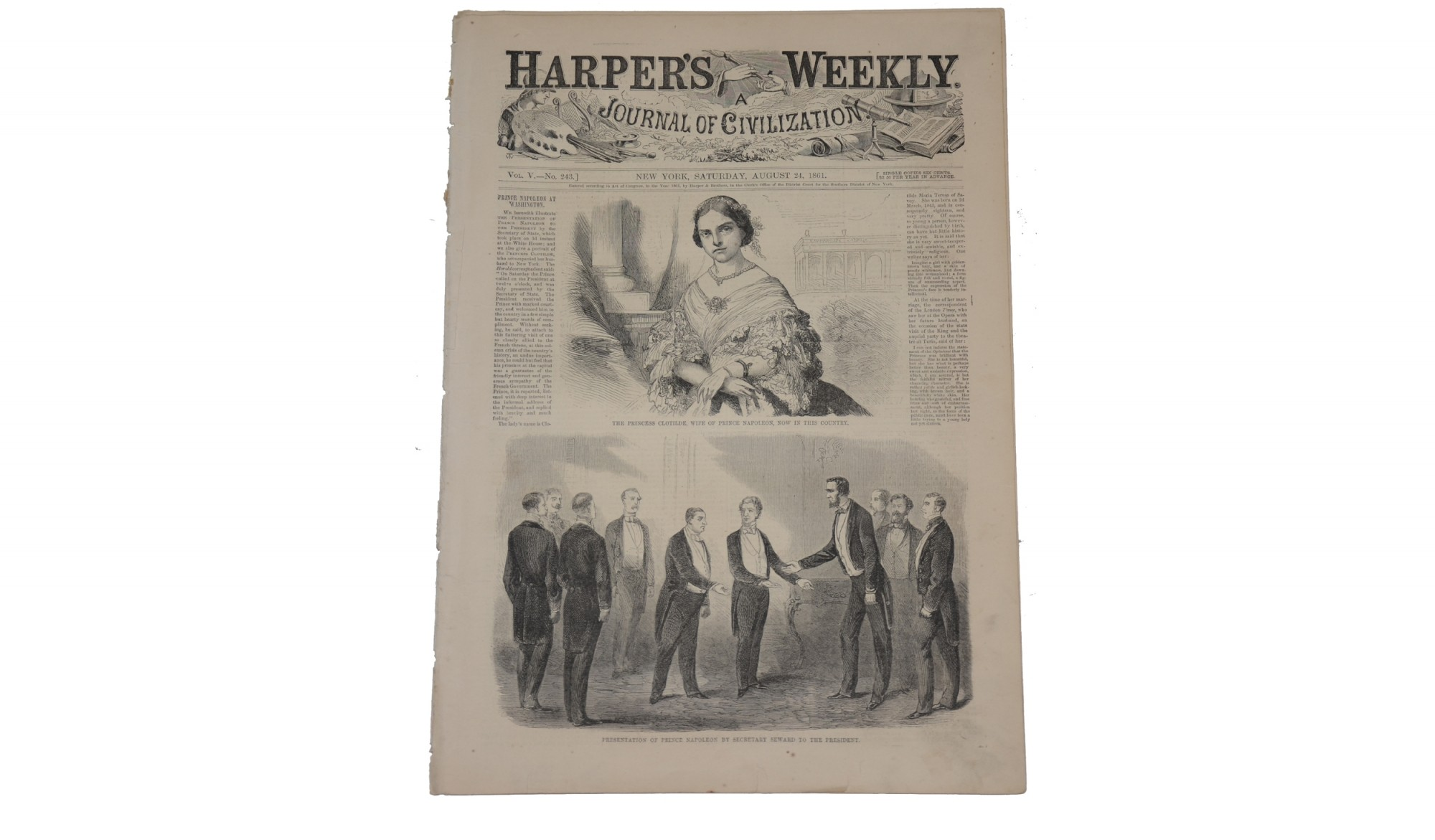HARPER'S WEEKLY, NEW YORK, AUGUST 24, 1861 – LINCOLN & PRINCE NAPOLEON