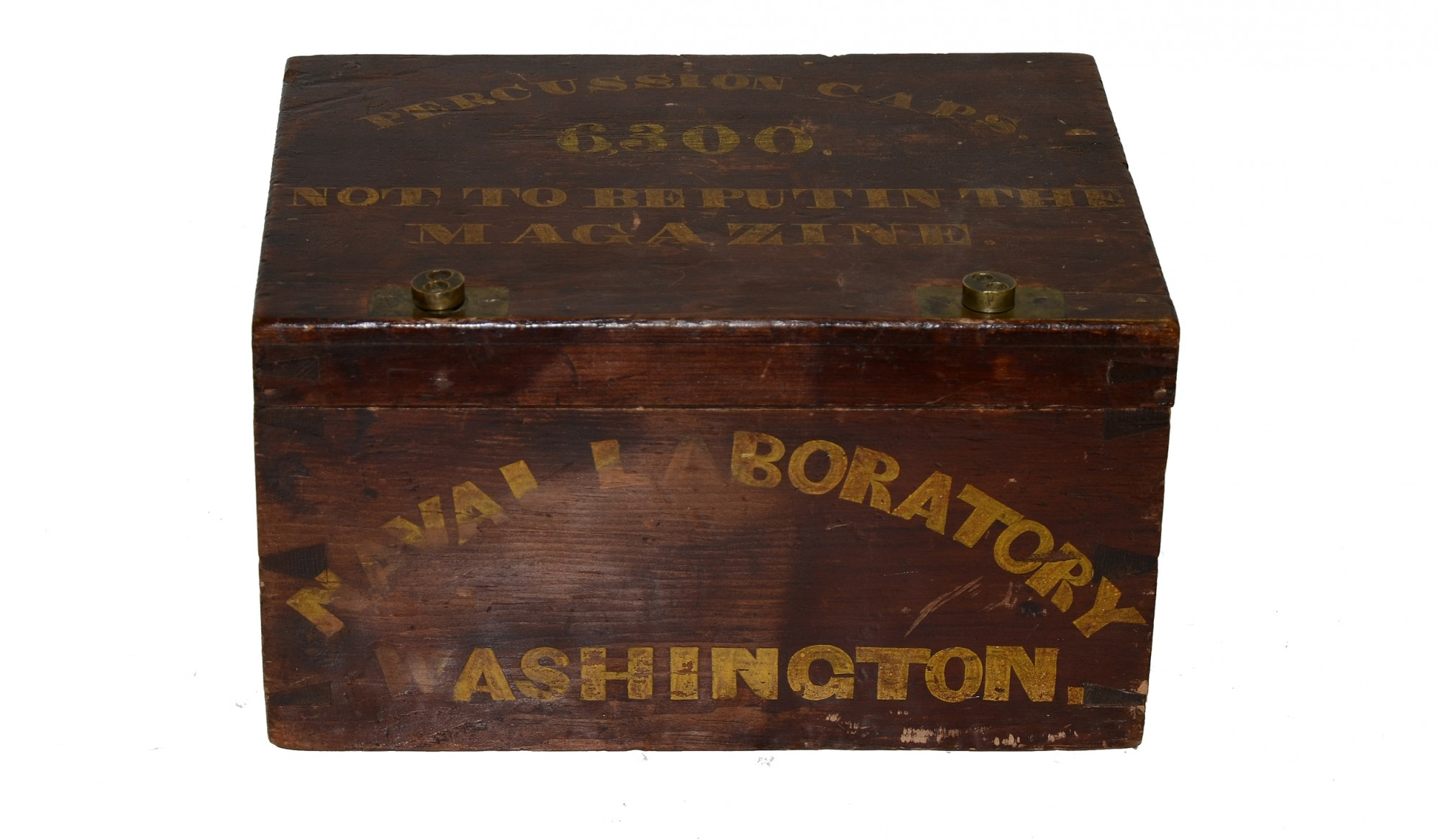 NAVAL LABORATORY CRATE FOR PERCUSSION CAPS WITH BRASS KEY