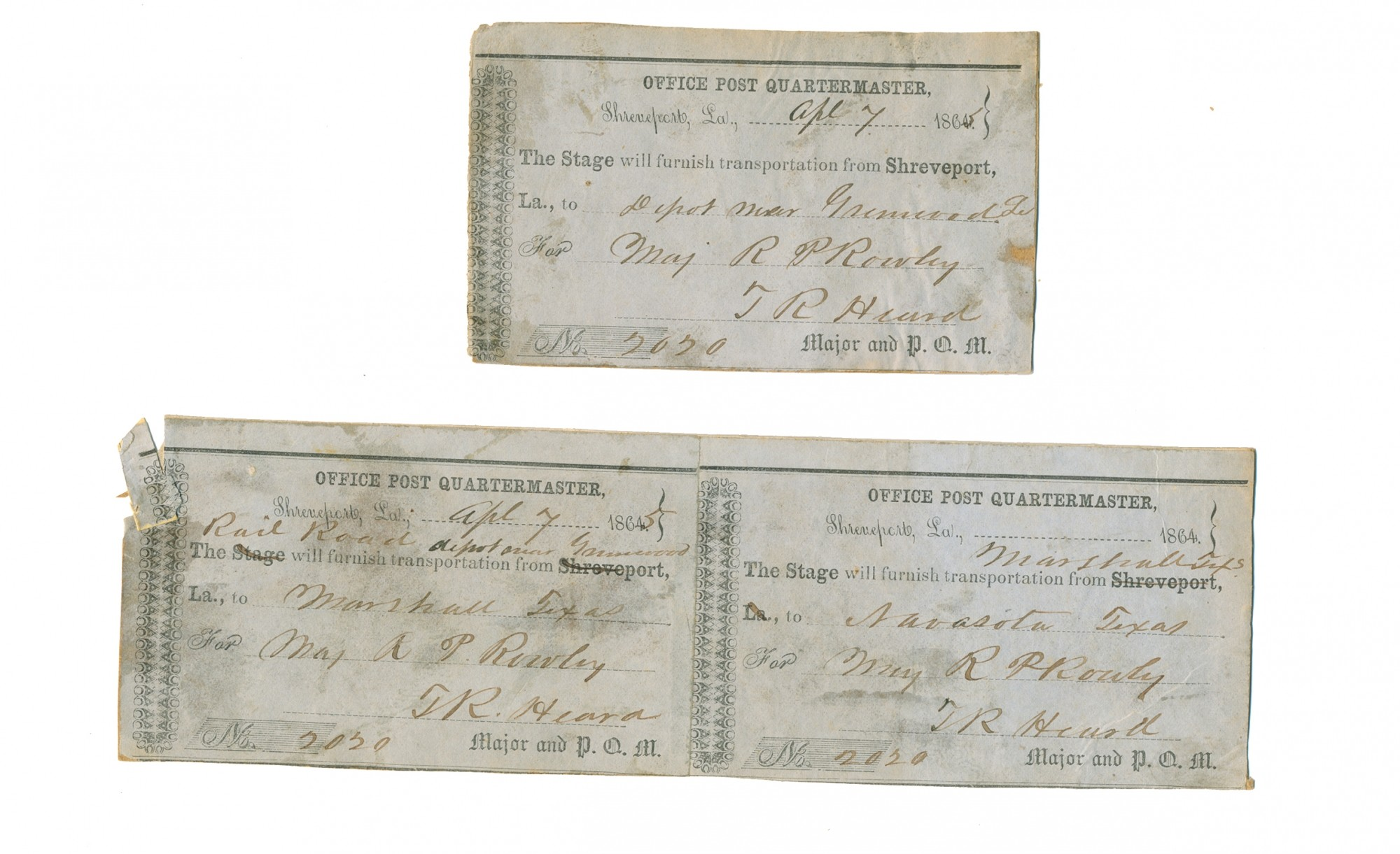 CONFEDERATE RAILWAY PASSES FOR MAJOR R.P. ROWLEY, CS CORPS OF ARMY ENGINEERS