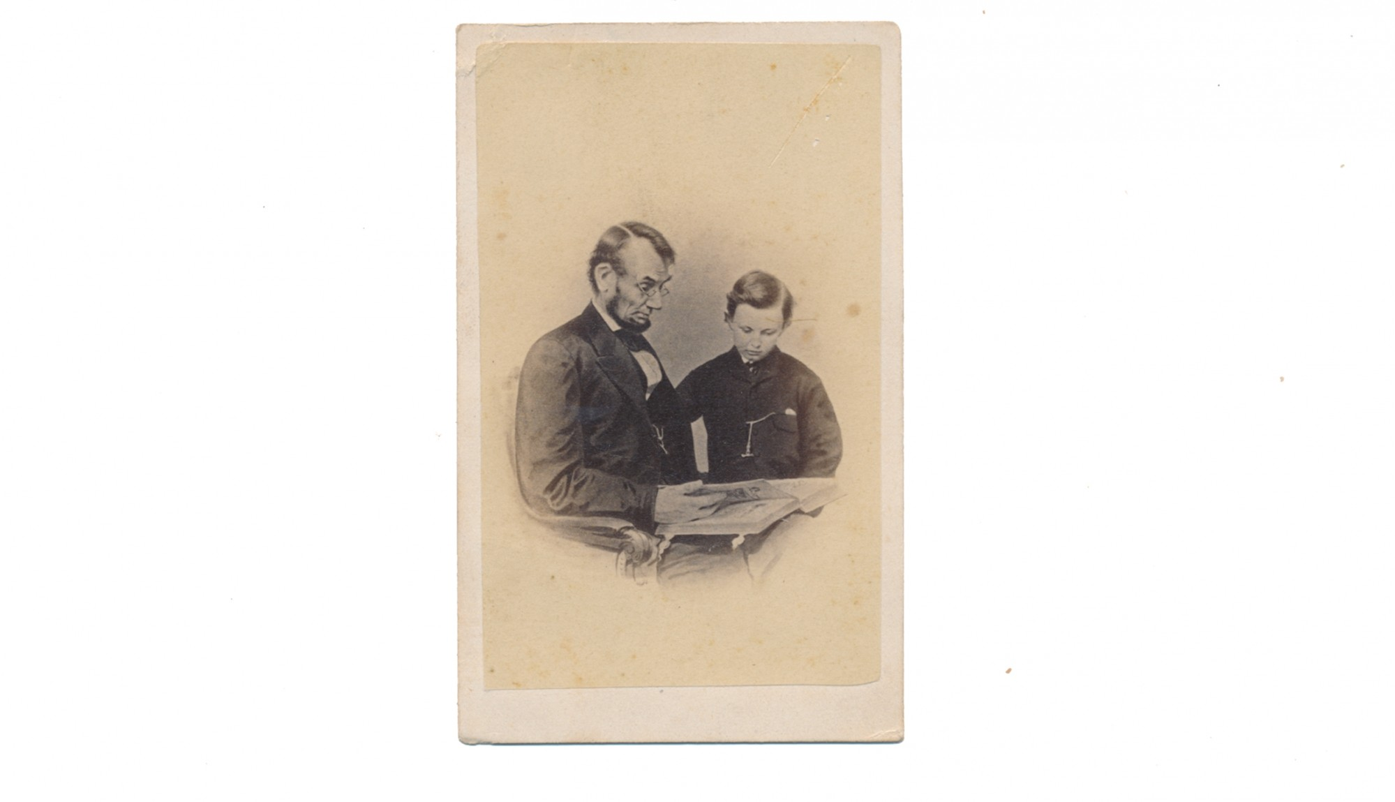 CDV IMAGE OF PRESIDENT LINCOLN AND HIS SON TAD