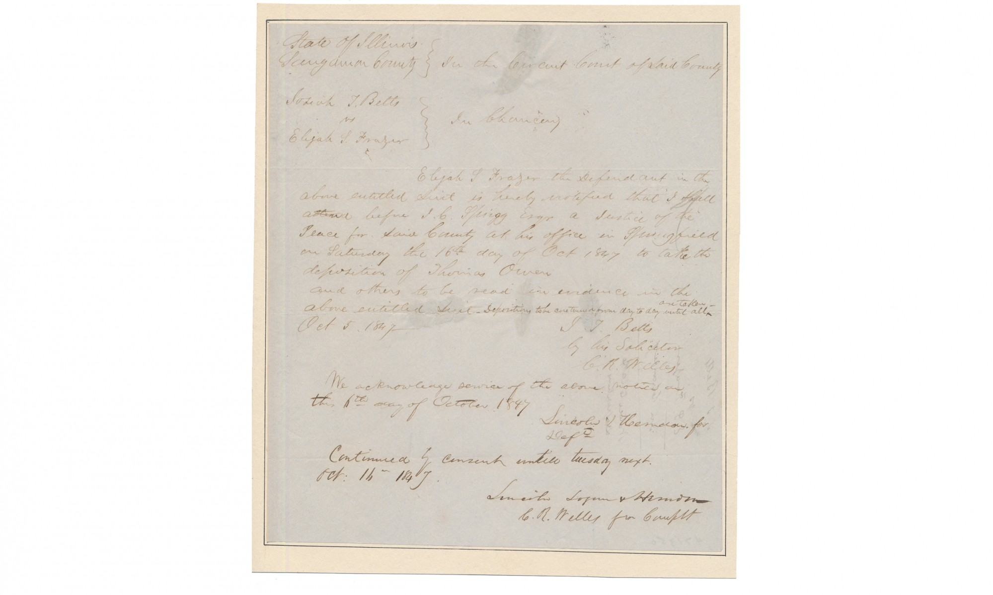 ABRAHAM LINCOLN / LINCOLN & HERNDON LEGAL DOCUMENT, WITH FIRM NAME