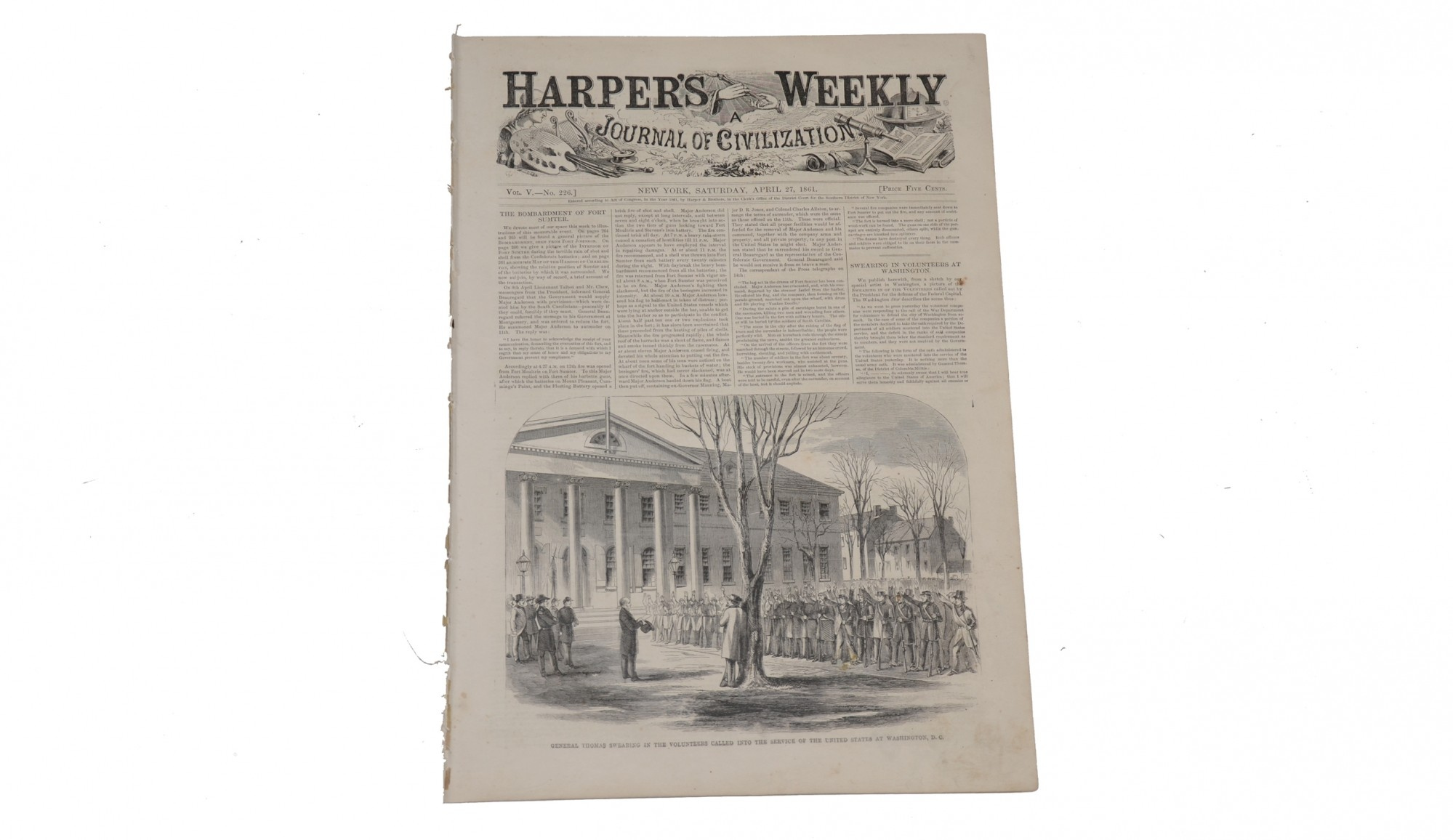 HARPER'S WEEKLY, NEW YORK, APRIL 27, 1861 – FORT SUMTER ISSUE