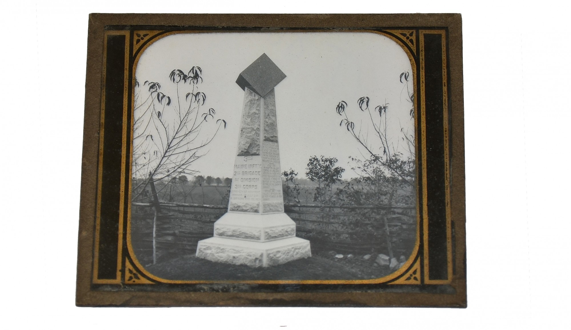 GLASS LANTERN SLIDE, 3RD MAINE INFANTRY, PEACH ORCHARD, GETTYSBURG, 1889