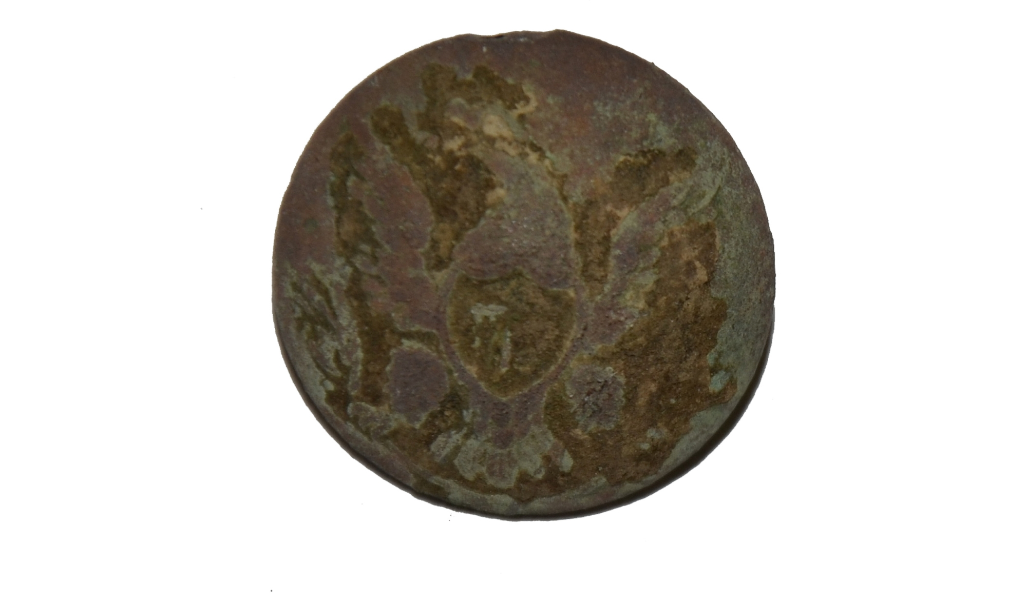 LARGE US GENERAL SERVICE EAGLE JACKET BUTTON RECOVERED ON CULP'S HILL, GETTYSBURG