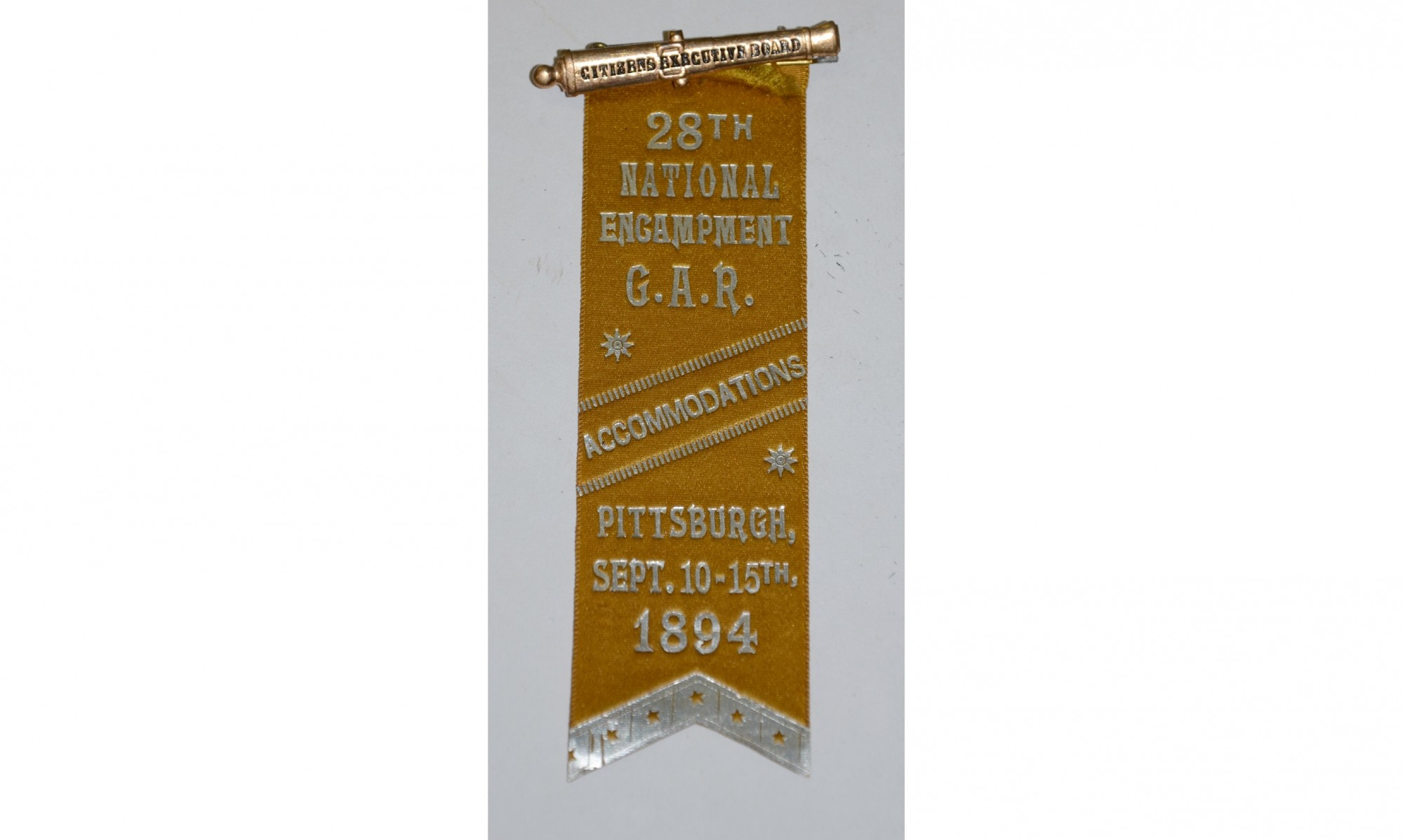 1894 RIBBON FOR THE 28TH NATIONAL ENCAMPMENT OF THE GAR