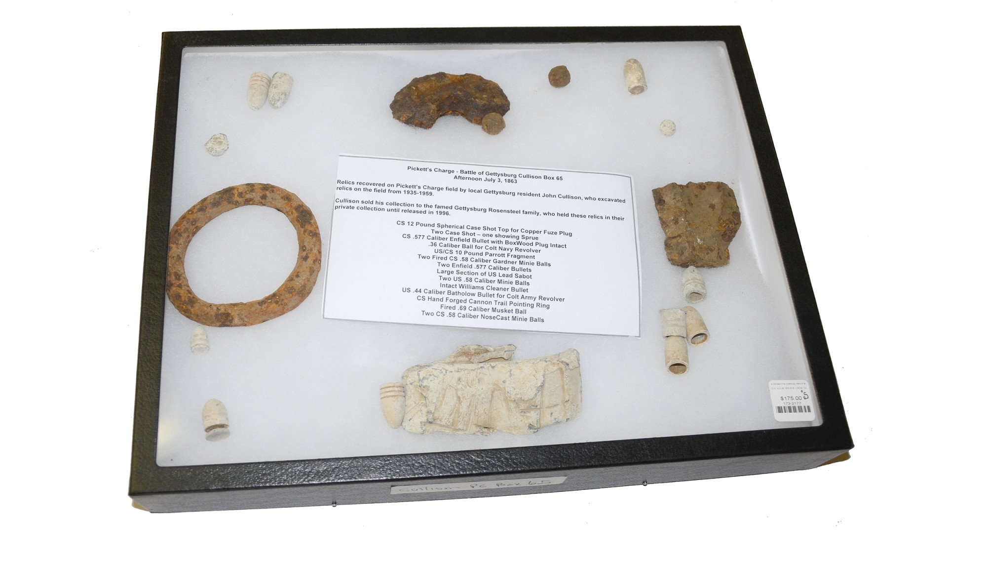 BOX OF RELICS RECOVERED FROM PICKETT'S CHARGE