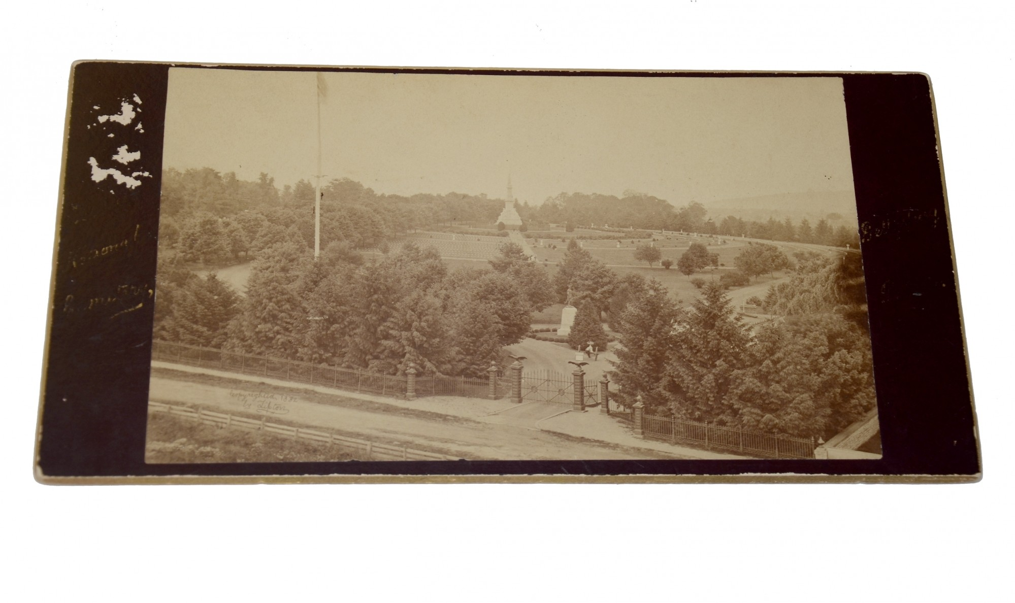 LARGE TIPTON CABINET CARD VIEW OF THE GETTYSBURG NATIONAL CEMETERY