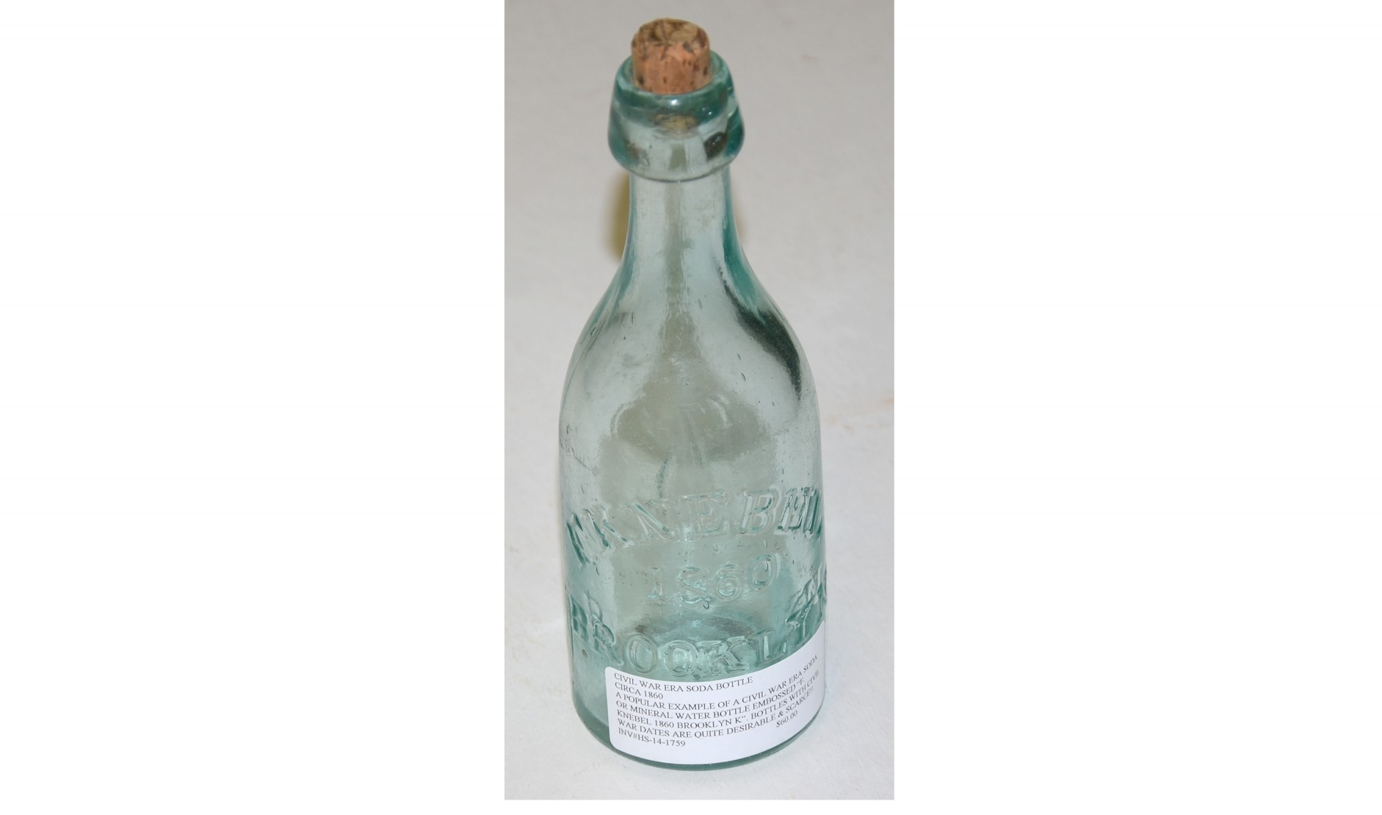 CIVIL WAR ERA SODA BOTTLE, CIRCA 1860