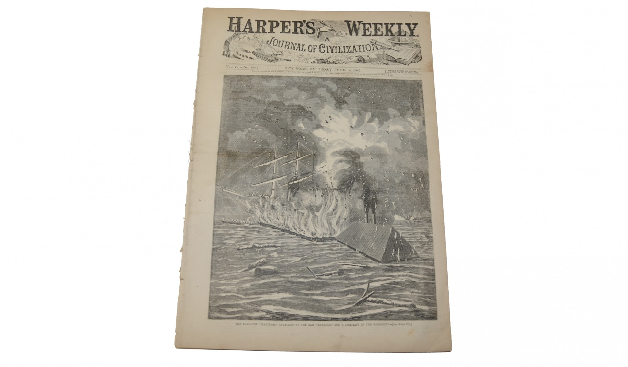 HARPER'S WEEKLY, NEW YORK, JUNE 14, 1862 - USS HARTFORD/MISSISSIPI RIVER RAM ATTACK