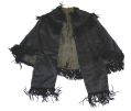 BLACK SILK SATIN MANTLE WITH CHENILLE FRINGE C.1865-1875