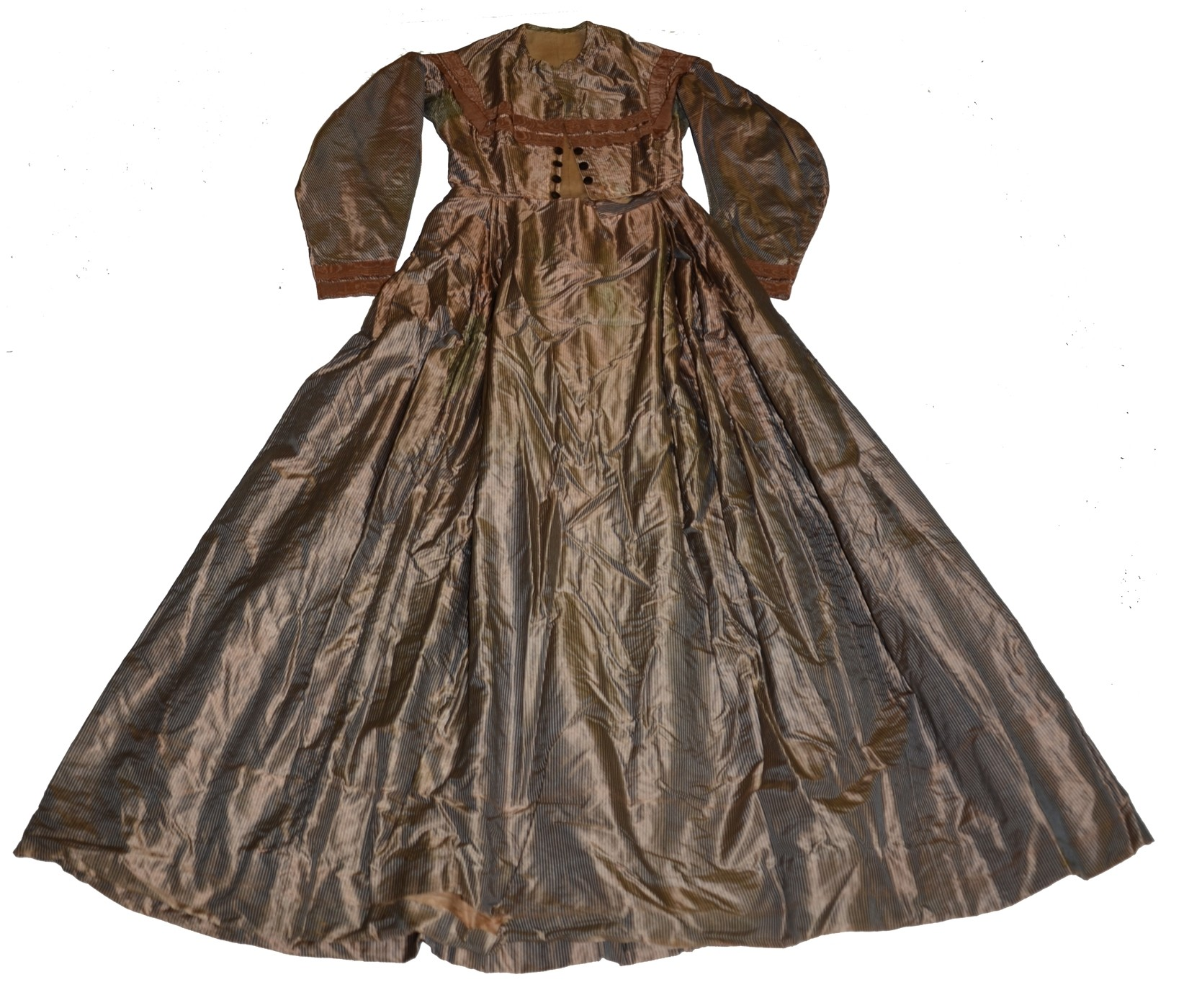 IRIDESCENT COPPER AND BLUE STRIPED SILK TAFFETA DRESS C. 1862-1865