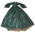 EMERALD GREEN SILK DRESS C.1860-1864