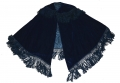 BLUE VELVET CAPE WITH FRINGE TRIM C. 1860-1870