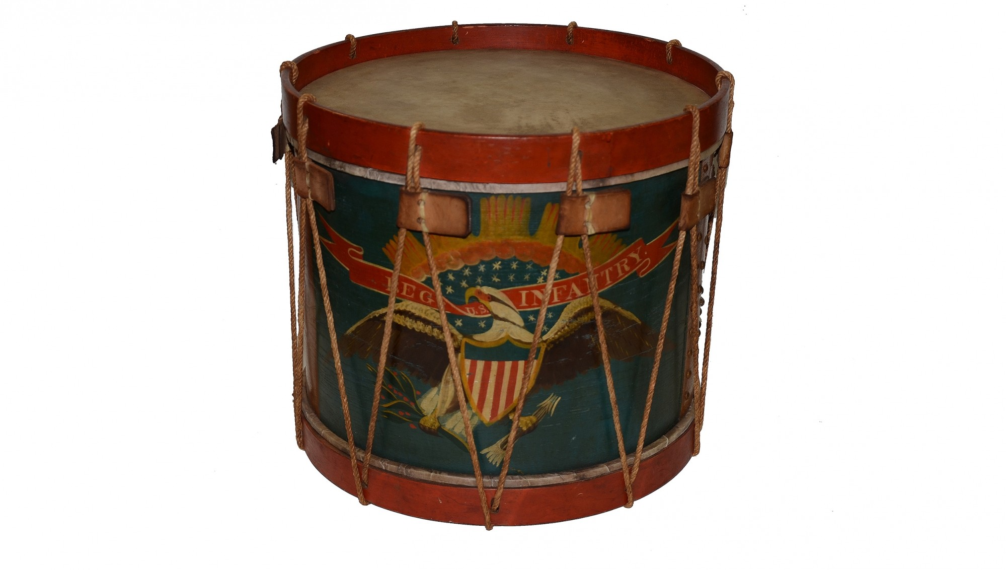 PAINTED CIVIL WAR DRUM MADE BY ALEXANDER ROGERS OF FLUSHING NEW YORK