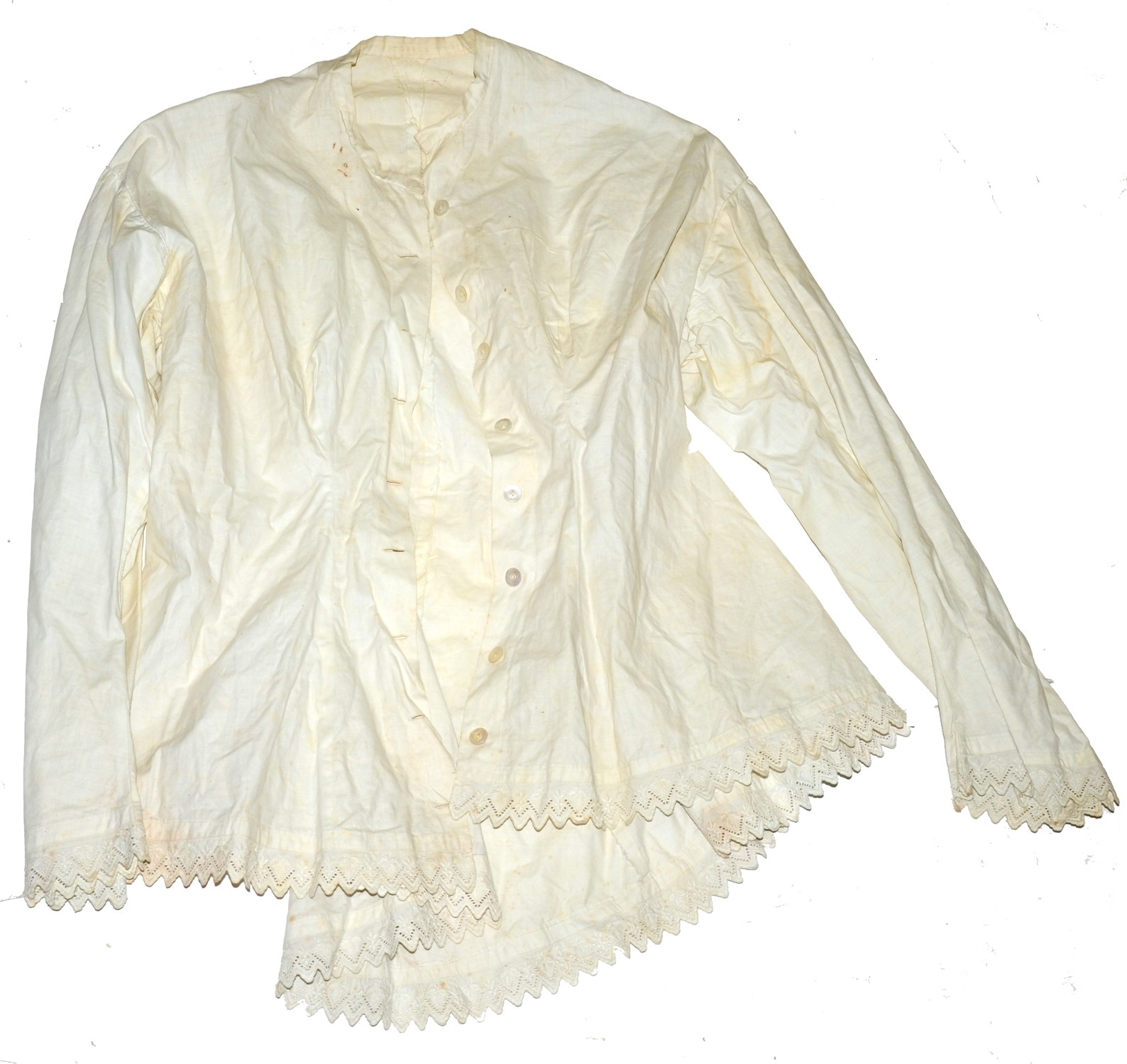 WHITE COTTON COMBING JACKET C.1855-1865