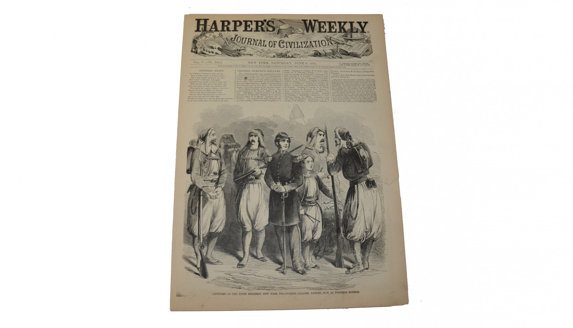 HARPER'S WEEKLY, DATED JUNE 8, 1861 - 5TH NEW YORK DURYEE'S ZOAUVES
