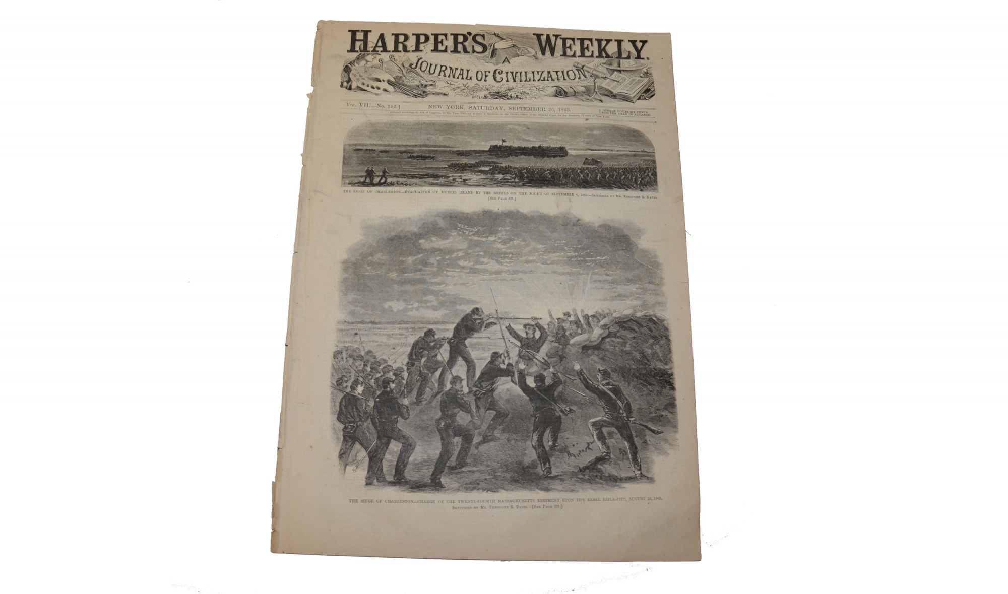 HARPER'S WEEKLY, NEW YORK, SEPTEMBER 26, 1863 – SEIGE OF CHARLESTON / BATTERY WAGNER