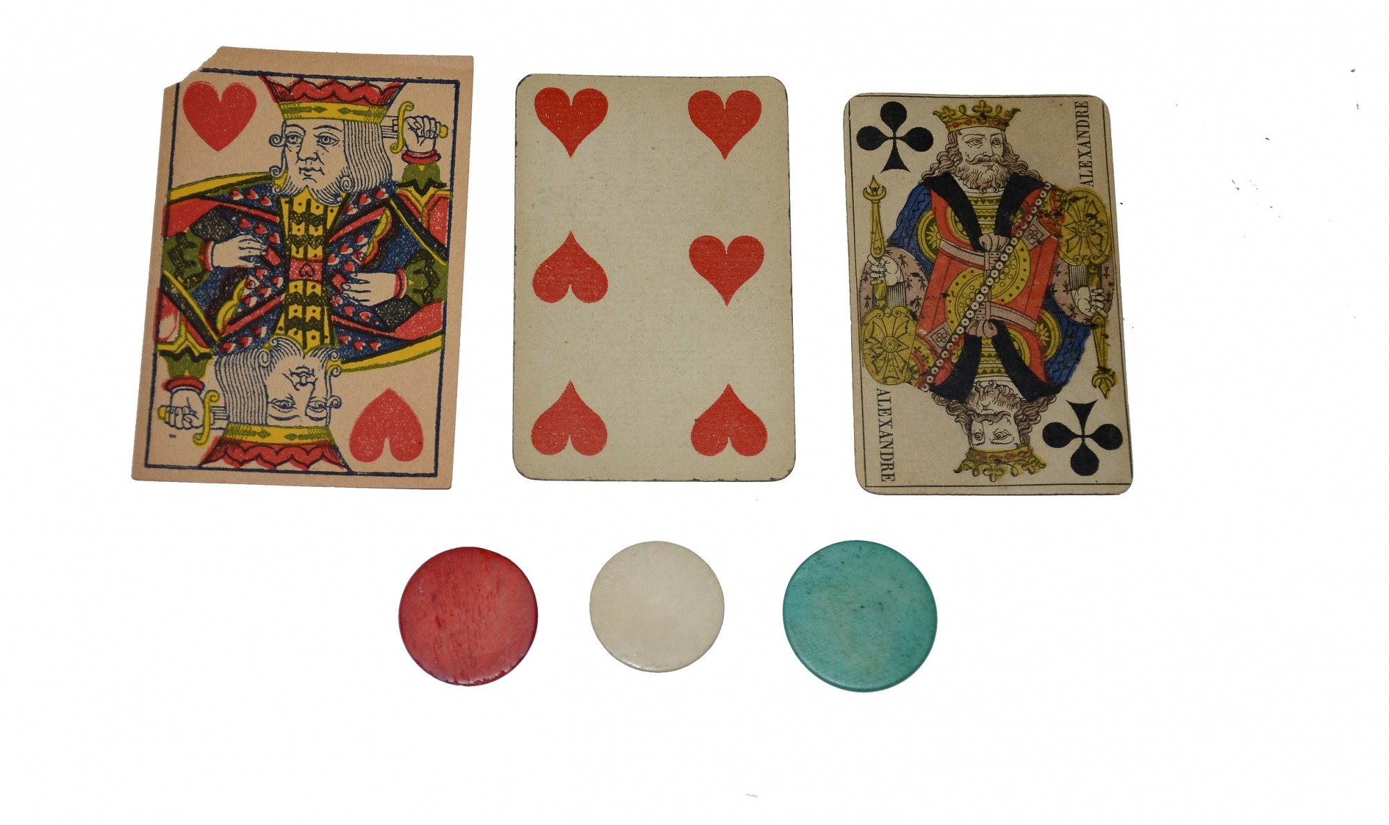 CIVIL WAR PLAYING CARDS WITH BONE POKER CHIPS