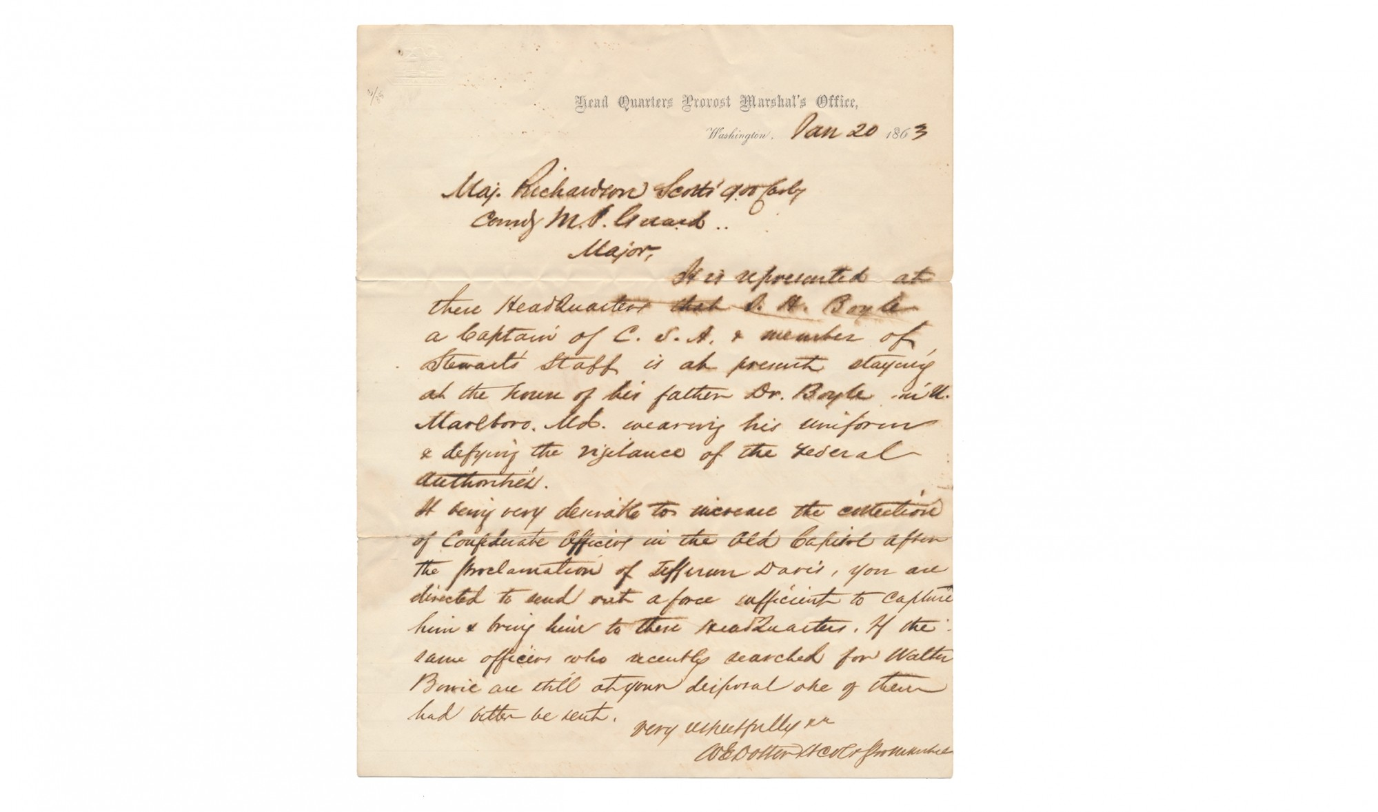 1863 ALS FROM LT. COL. WILLIAM E. DOSTER TO MAJ. G.W. RICHARDSON ORDERING THE CAPTURE OF A SUSPECTED CONFEDERATE SPY