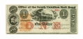OFFICE OF THE SOUTH CAROLINA RAIL ROAD $1 NOTE