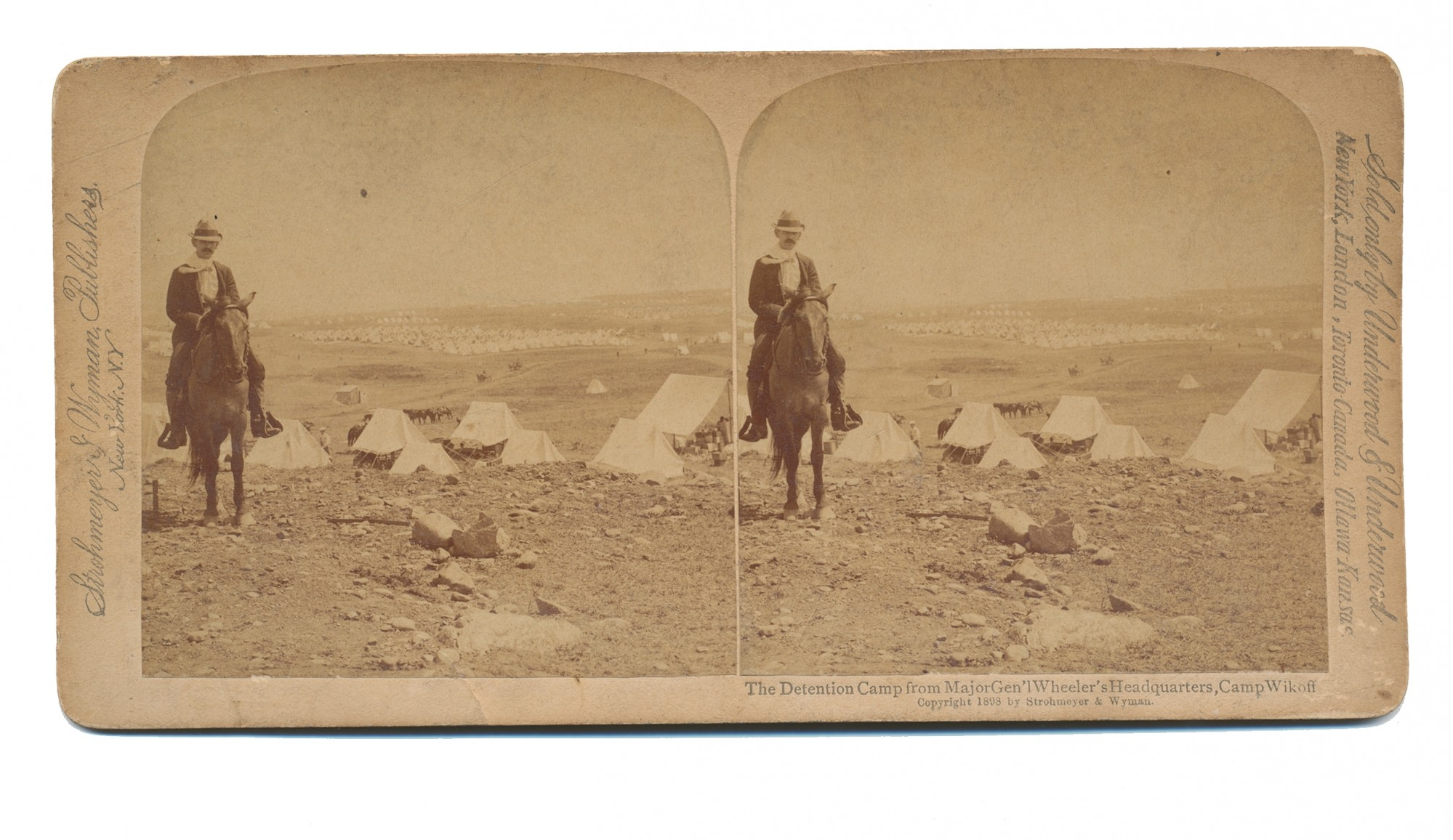 STEREOVIEW OF CAMP WIKOFF AT MAJOR GENERAL JOSEPH WHEELER'S HEADQUARTERS